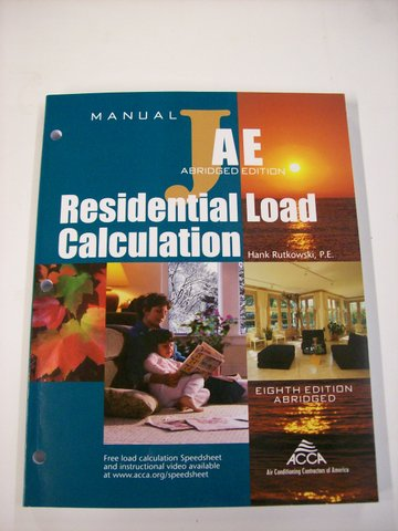 Residential Load Calculation, Manual J, 8th ed.